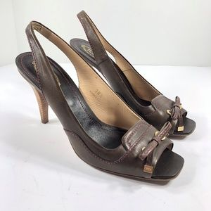 Tod's Brown Leather Heels Open Toe Bow Slingback